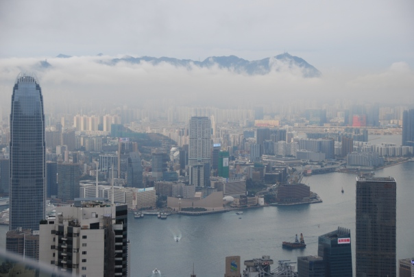 Rainy, cloudy view from the top of Victoria Peak. (photo by Robyn Bushong.)