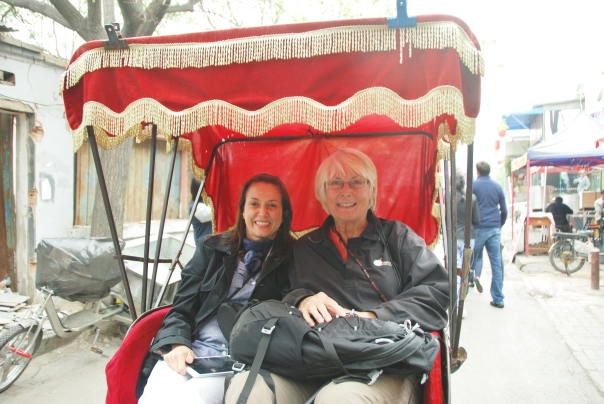 Cynthia (left) and I on our rickshaw ride through The Hutongs ( alleways) of Old Beijing.