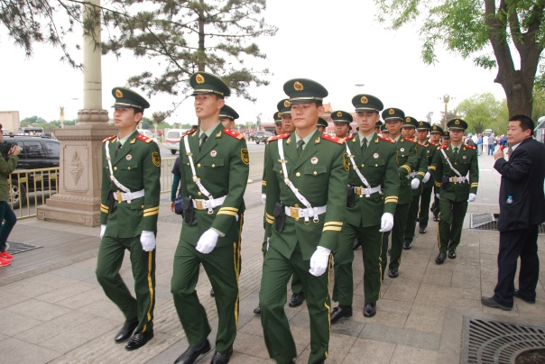 Well-guarded and well patrolled, Tiananmen Square, is also well-known for military parades.  (Photo by Robyn Bushong.)