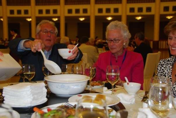 Family-style dining was typical for all lunches and dinners when sightseeing in China. (photo by Robyn Bushong.)
