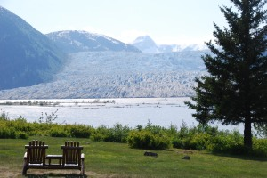 The view of the ascending Taku Glacier from the  fron lawn  of the 1923 Taku Glacier Lodge.