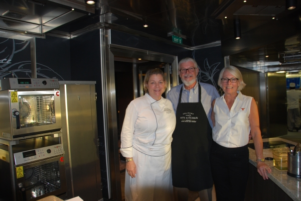 "Culinary Arts Instructor, Annie Copps. with Ed Hill and me during our ""Gone Fishing"" culinary class. So much fun and we learned alot!"