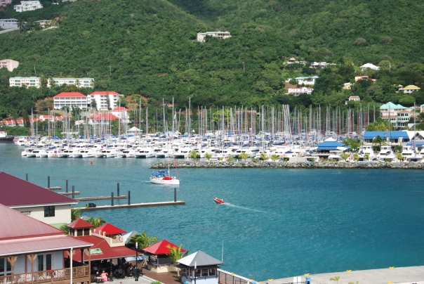The harbor of Gustavia, St. Barts where we anchored. ( Photo by Robyn Bushong.)