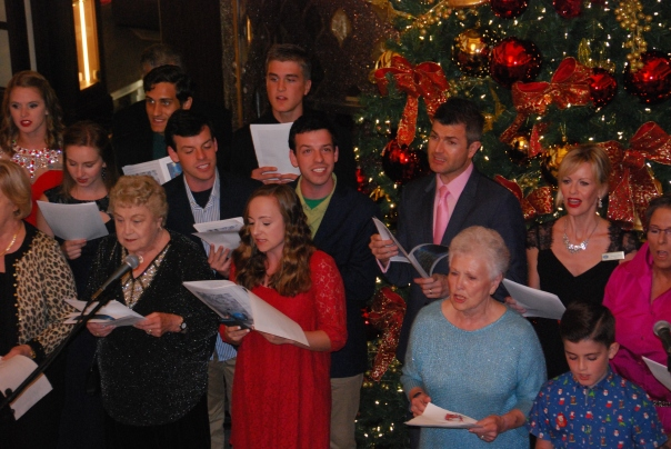 Caroling on Christmas Eve was a delight - as both staff members and guests participated. (Photo by Robyn Bushong.)