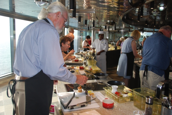 Ed is pictured here searing scallops. (photo by Robyn Bushong.)