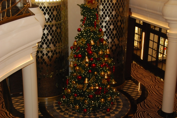 The ship was beautifully decorated for the holidays with this giant Christmas tree the focal point in the ship's atrium. ( Photo by Robyn Bushong.)